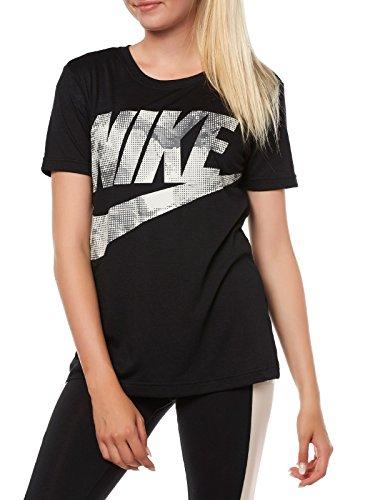 Nike Damen 855568 Short Sleeve Shirt Black/Midnight Fog/Light Bone, L