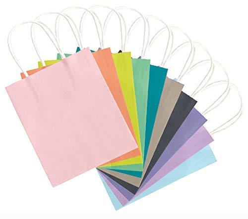 folia 21819 - Papiertüten aus Kraftpapier, Geschenktüten, 20 Stück, ca. 18 x 8 x 21 cm, farbig sortiert in trendigen Farben - zum Basteln, Verzieren und Verschenken
