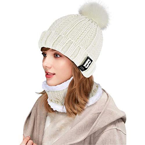 Conjunto de gorro y bufanda de punto, forro polar de invierno, forro de lana Beanie Hat, calentadores de cuello para mujeres (Blanco)