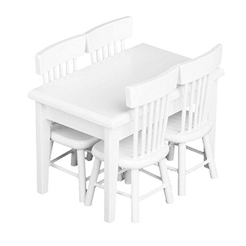 nicebuty 5pcs blanco mesa de comedor silla modelo Set 1: 12casa de muñecas en miniatura muebles
