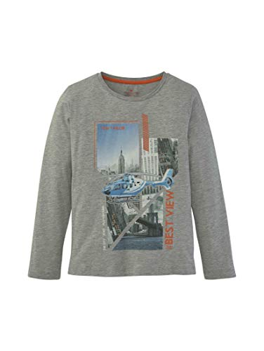 TOM TAILOR Jungen T-Shirts/Tops Langarmshirt mit Print Drizzle Melange|Gray,176