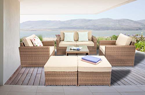 DIMAR garden 7 Piece Outdoor Wicker Patio Furniture Sofa Conversation Set with Cushion Rattan Patio...