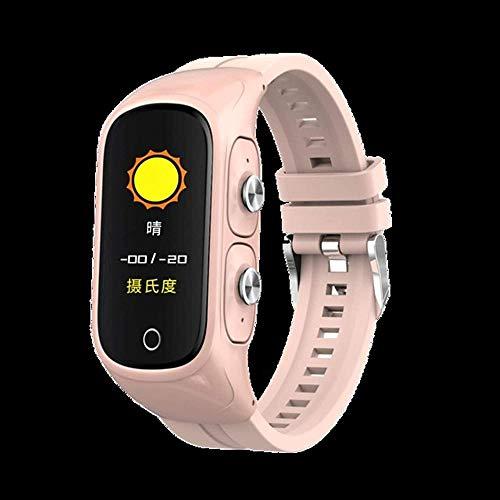 Auriculares inalámbricos reloj inteligente Mp3 rastreador de música fitness resistente al agua, pulsera deportiva 3D estéreo, bajo Bluetooth, compatible con iOS y Android rosa