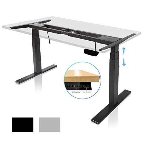 FLOWood Höhenverstellbarer Schreibtisch Elektrisch Tischgestell mit Anti-Kollisionssystem Stehzeit-Erinnerung-System 3-stufig Teleskopbein 60-125 cm höhenverstellbar Schwarz