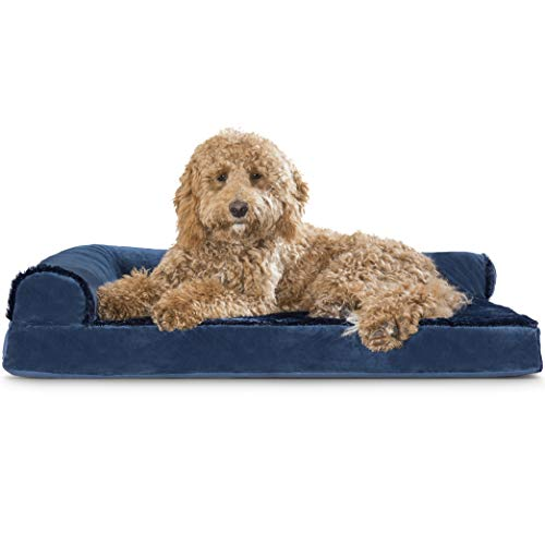 Furhaven Pet Dog Bed - Deluxe Orthopedic Plush Faux Fur and Velvet L Shaped Chaise Lounge Living Room Corner Couch Pet Bed with Removable Cover for Dogs and Cats, Deep Sapphire, Large