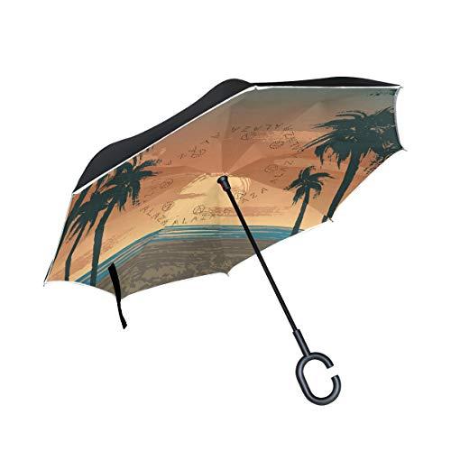 ISAOA Paraguas Plegable de Doble Capa, Paraguas de Auto de pie y de revés, Disfraz de Hawaii de Estados Unidos de América, Resistente al Viento, Lluvia Invertida, con protección UV