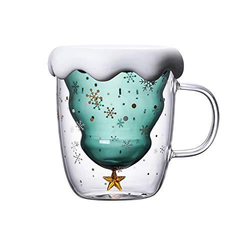 Binoster Tazas Lindo de Navidad Taza, Taza de té, Taza de Leche Vasos de los vidrios de Doble Pared con Aislamiento Lentes Taza de Espresso, Mujeres, Hombres, niño, Oficina y personales