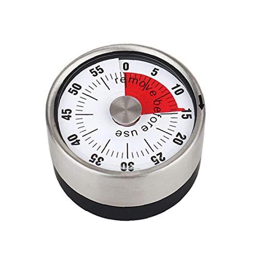 Magnética temporizador y cronómetro de cocina, Pequeño mecánica fuerte alarma para cocinar imán redondo de acero inoxidable de 60 minutos de la novedad Cuenta atrás Cocinar Recordatorio Reloj
