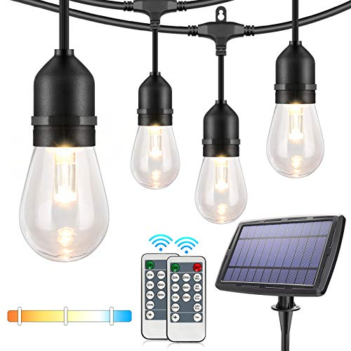 3-Color in 1 Dimmable Solar String Lights Outdoor,48ft LED Patio String Lights with Remotes,15 Hanging Sockets,Waterproof Shatterproof,Warm White Daylight White Lights for Backyard,Garden