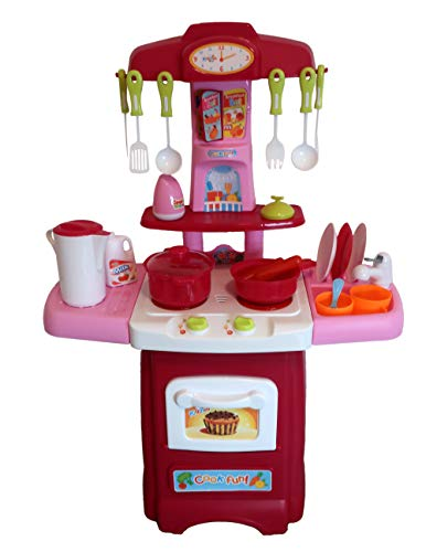 Pretend Play Kitchen for Toddlers, Toys for Girls 3-Year Old+ | 24 Cooking Accessories, Lights, Sound Effects | Best Gift for Little Kids | for The Young Chef at Home or Preschool, Pink