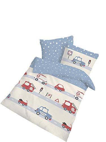 IDO Jungen Bettwäsche Kinderbettwäsche · AUTOS · Kleinkinder Baby Bettwäsche · Kissenbezug 40 x 60 cm + Bettbezug 100 x 135 cm · 100% Baumwolle Beige Blau