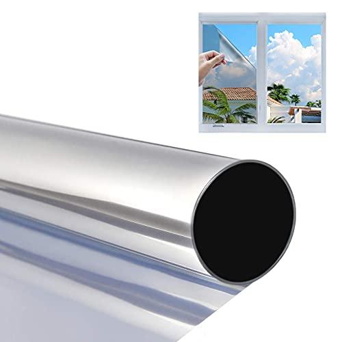 Película de Espejo para Ventanas, Vinilo Ventana Espejo, Película Reflectante Anti 99% UV, Anticalor, Lámina de Espejo para Ventanas para Oficina Salón Dormitorio, 50 x 200 cm