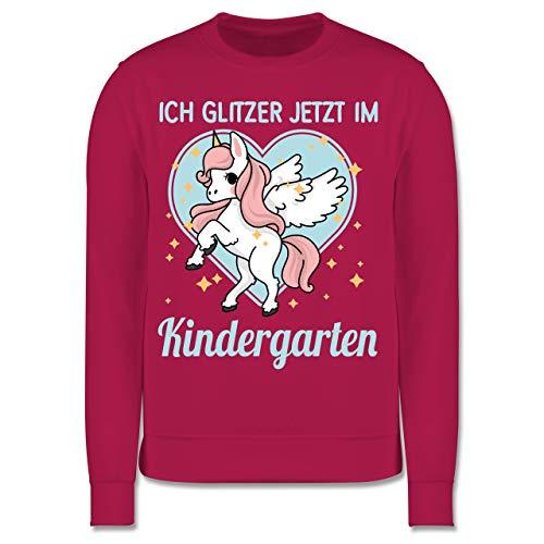Shirtracer Kindergarten - Einhorn mit Herz - Ich Glitzer jetzt im Kindergarten - 104 (3/4 Jahre) - Fuchsia - Geschenk - JH030K - Kinder Pullover