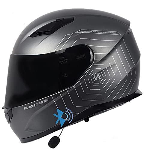 Bluetooth Cascos Integrales de Motocicleta,Casco De Moto Modular Bluetooth Con Doble Visera,Homologado ECE/DOT Cascos de Motocross Racing Crash Helmet para Mujeres Y Hombres I,XXL=59~61cm