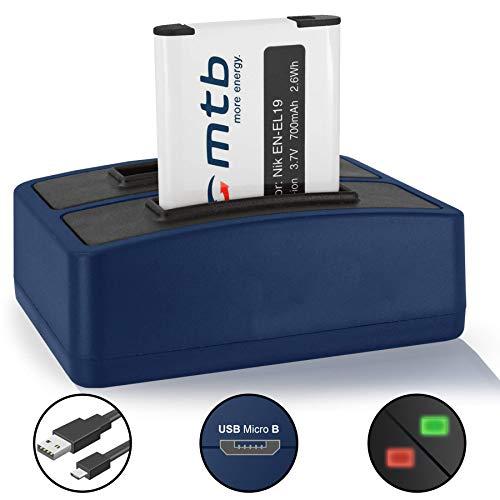 Batería + Cargador Doble (USB) EN-EL19 para Nikon Coolpix S2700, S2800, S2900, S3100, S3300, S4150, S4300, S5200, S6400, S6900. - v. Lista