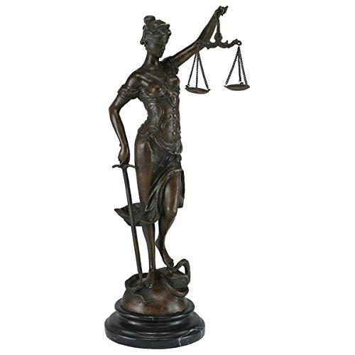 Decobay.eu Statue Bronze Justitia Symbol Figur Sinnbild Gerechtigkeit Skulptur Kanzlei Gericht Anwalt Richter 40 cm