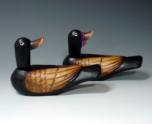 Korean Traditional Carved Wedding Wooden Geese Duck...