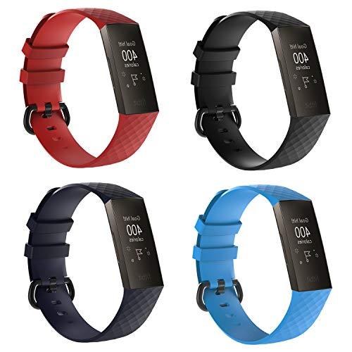 Shenghuo - Correa de repuesto compatible con Fitbit Charge 3/Fitbit Charge 3 SE, correa de silicona para hombre y mujer, color Un juego (4 piezas).