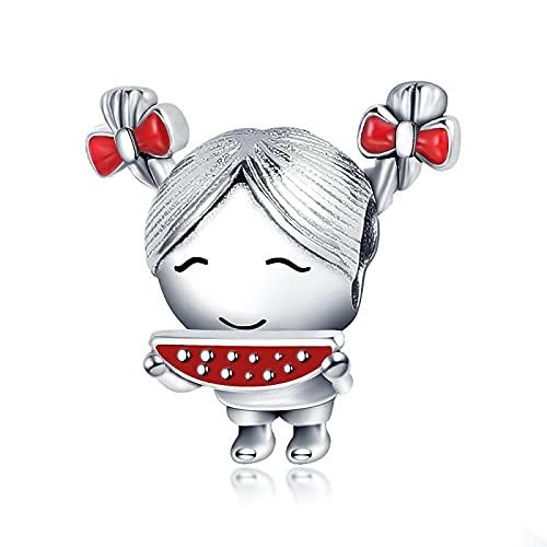 DIY 925 Sterling Jewelry Charm Beads La Niña Tiene Dos Colas De Caballo Haga Originales Pandora Collares Pulseras Y Tobilleras Regalos para Mujeres