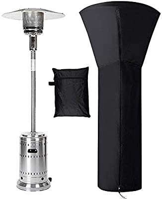"""Patio Heater Cover Waterproof with Zipper, Standup Outdoor Round Heater Covers, 89'' H x 33"""" D x 19"""" B - Black"""