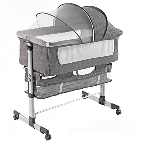 Lamberia 3 in 1 Bassinet for Baby, Easy Folding Sleeper with Mattress Included, Height Adjustable Bedside Travel Crib for Newborn Infant/Baby Boy/Baby Girl (Grey)