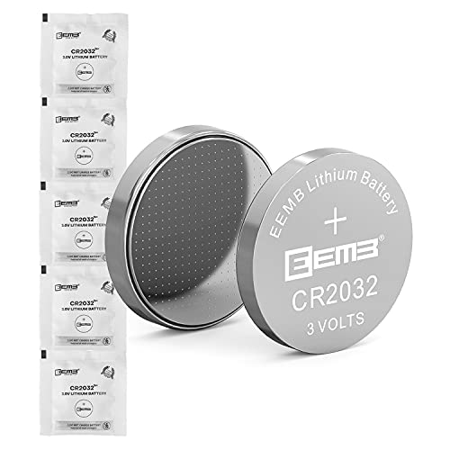 5PCS EEMB CR2032 Battery 3V Lithium Battery 2032 Coin Cell Batteries 3 Volt Li-MnO₂ Button Battery UL Certified Single Use Battery