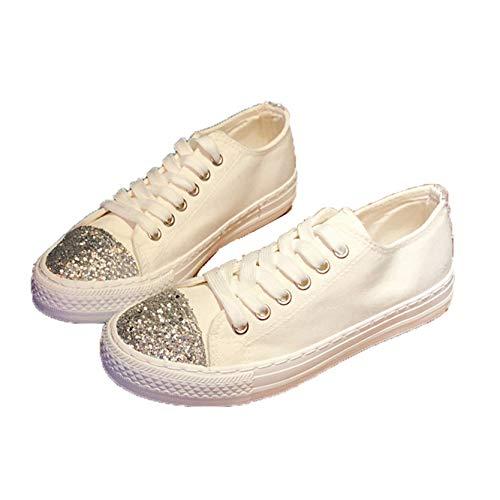 Zapatillas de Deporte para Mujer, Zapatos vulcanizados, Zapatos de Lona con Estilo, Ligeros y Ligeros, con Cordones y Lentejuelas, para Vestir