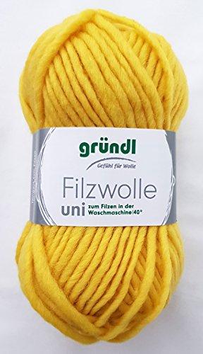 50 Gramm Filzwolle Uni Gründl Wolle aus 100 % Schurwolle Farbe 60 Sonnengelb