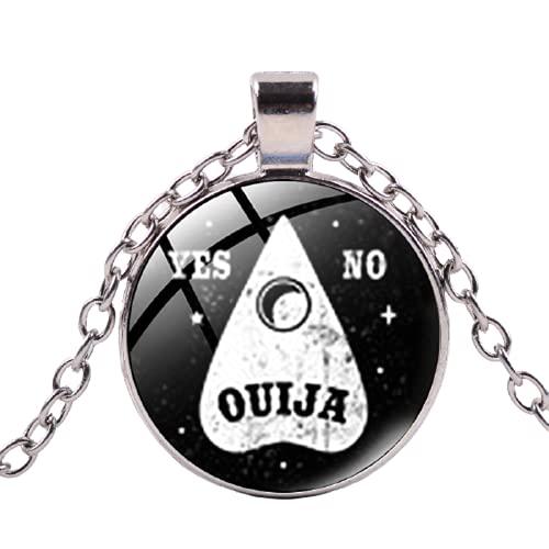 Collar redondo de cristal de la serie oscura con forma de bruja, estrella de la luna OUIJA Sí o No Weirdos Mister de cadena larga collares de regalo de fiesta de Halloween