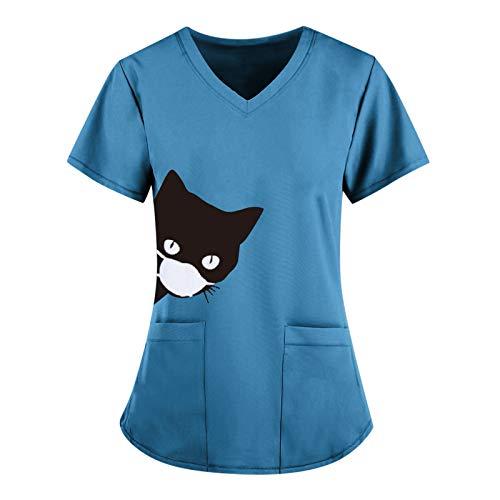 Routinfly Camiseta básica para mujer, de verano, informal, de manga corta, con cuello en V, para mujer, monocolor.