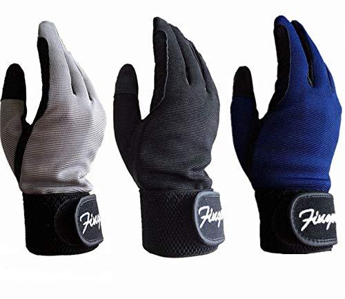 FINGER TEN Reithandschuhe Kinder Jungen Mädchen Jugend Reiten Reiter Reitsport Handschuhe Grau Schwarz Blau Comfortable Grip Paar Für Kinder Alter 5-14 (Blau, S