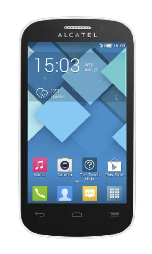 Alcatel One Touch Pop C3 4033D Smartphone (10,2 cm (4 Zoll) Touchscreen, 1,3GHz, Dual-Core, 512 MB RAM, 4GB interner Speicher, 3,2 Megapixel Kamera, Android 4.2) pure white