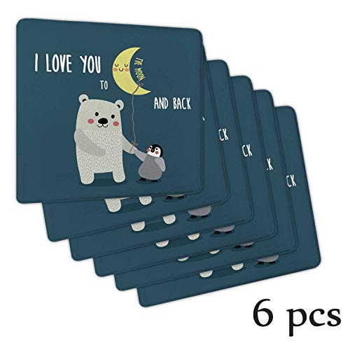 Atokker I Love You,Seat Cushions Meditation Chair and Penguin Best Arctic Lovers Under Moon Cartoon Rocking Chair Cushions 6 Pack