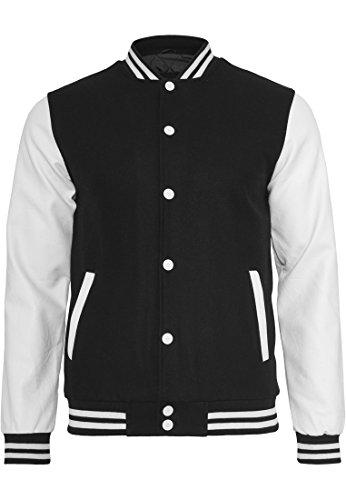 Urban Classics - Bekleidung Oldschool College Jacket, Giacca Uomo, Multicolore (Black/White), Medium (Taglia Produttore: Medium)