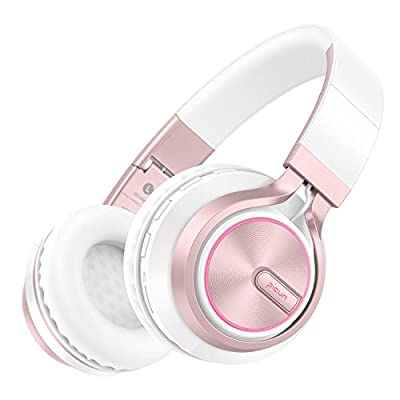 Picun Wireless Headphones 20 Hours Playtime Girls Romantic LED Bluetooth V5.0 Headphones, Hifi Bass Foldbale Headset with HD Mic, Soft Earmuff, Wired & TF Mode for Kids Women New Version(Rose Gold) from Picun