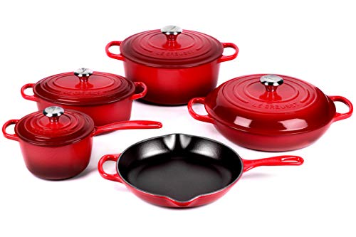 Le Creuset 9-piece Signature Cast Iron Cookware Set, Cerise (Cherry Red)
