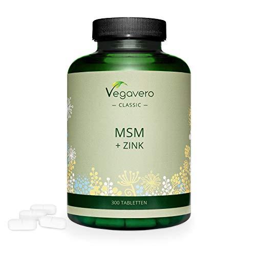 MSM 2000 mg + Zinc Vegavero® | Ahora Sin Aditivos Artificiales | 300 Comprimidos | Antiinflamatorio + Articulaciones + Huesos y Músculos + Calambres Musculares + Cabello y Piel