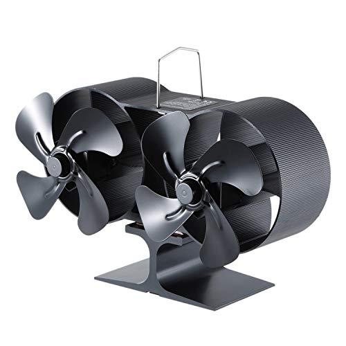 Rantoloys Ventilador de Estufa de leña con Doble Cabezal de 8 Cuchillas Mini Ventilador de Chimenea Ventilador de Aire para Horno de leña/Quemador de leña/Chimenea Ventilador ecológico