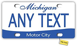 Tobe Yours US 50 States Personalized Custom Any Text/Name/Photo/Image - Michigan 2013 Motor City Printed Customized Auto Car Tag Metal License Plate Cover Frame Car