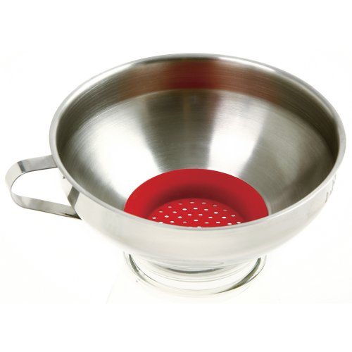 Norpro Stainless Steel Wide Mouth Funnel with Silicone Strainer, 2.25in/5.5cm, As Shown