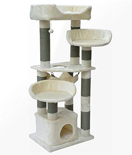 nanook Kratzbaum für Katzen groß 165 x 65 x 60 cm hoch - 11 cm Ø stabile graue Kratzstämme - standfest - XXL Liegeplatz - beige