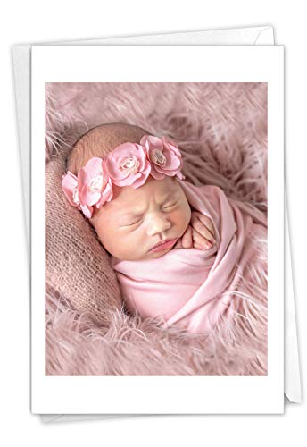 The Best Card Company, Blissful Babies - Baby Girl Card with Envelope - Newborn Girl, Pink Greeting Card for Parents C7180ABBG