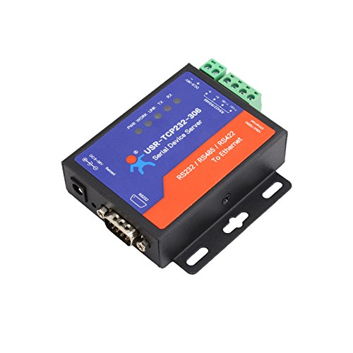 Serial RS232/RS485/RS422 to Ethernet TCP/IP Server with DHCP and Built-in Webpage