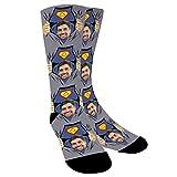 YanNanKe Calcetines Personalizados Foto,Personalizable Calcetines,Calcetines fotográficos para Hombre Mujer, Personalizable Calcetines de papá súper papá regalo del día del padre