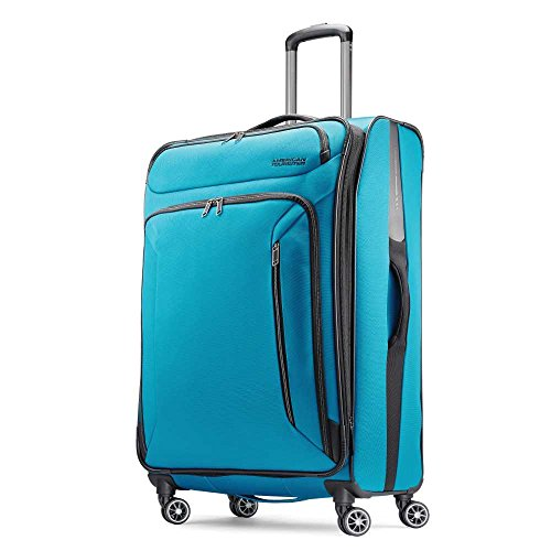 American Tourister Zoom Softside Luggage with Spinner Wheels, Teal Blue