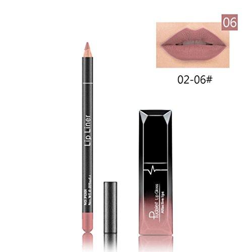 Gaddrt Pudaier Langlebige Lippenstift Wasserdicht Matte Flüssige Glanzlip Liner Kosmetik Set (F)