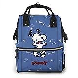 Snoopy - Mochila de viaje multifunción impermeable para pañales