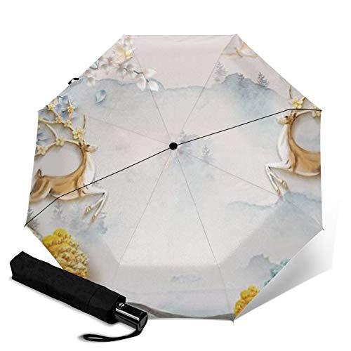 Antelope,Waterproof Automatic Folding Umbrella Manual Tri-Fold Umbrella Portable Compact Umbrella for Daily
