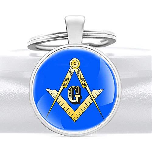 TUDUDU Neuheiten Blue Masonic Logo Anhänger Schlüsselringe Klassische Männer Frauen Schlüsselanhänger