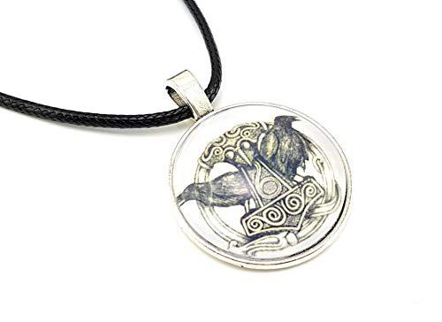 Stechschmuck Halskette mit Anhänger Handmade Amulett Medaillon Talisman Thors Hammer Raben Mjölnir Nordisch Keltisch Biker Silber Farben Thor Loki Freya 27mm Unisex Damen Herren